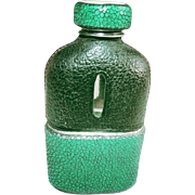 "Exceptional Vintage Shagreen Drinking Flask - A Unique Green & Black ""Must-Have"" Collectible Made of Genuine Stingray!"