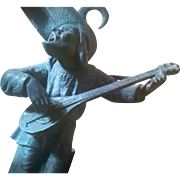 Antique  Unusual Signed Spelter Renaissance Lute Player / Troubadour - Lively French Signed Candle Holder - D6