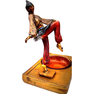 Superb Antique Bronze-clad Polychrome Jester Tray by Armor Bronze