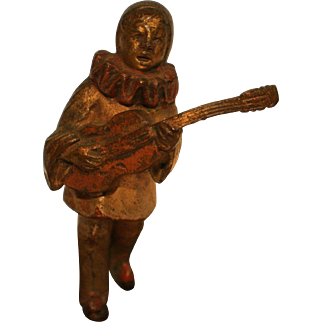 Antique Cold Painted Austrian Bronze of Magnificent PIERROT HARLEQUIN with Mandoline standing on Orientalist Carpet