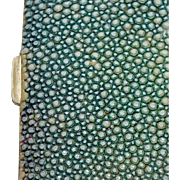 GIFT IDEA - Hard to resist Stunning SHAGREEN Case from the 1920's - A Genuine Green Stingray Art Deco Accessory
