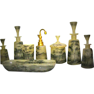 Rare & Elegant French Vanity Dressing Table Toiletries - Molded Classy Opaline Art Glass - Stunning Watercolor Landscape