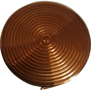 Absolutely Stunning Gilded Engine-turned Mid-Century Vanity Bolster - ROUND Barrel-shaped  Minaudière Nécessaire Rarity
