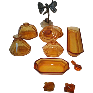 Stunning Moser Vanity Dressing Table Set - Ten pieces of thick faceted Bohemian vintage collectibles from 1940's
