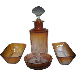 Simply Superb Faceted Crystal Art Glass in Cognac Tone by 1st Class Bohemian Glass-maker: Moser Karlsbad