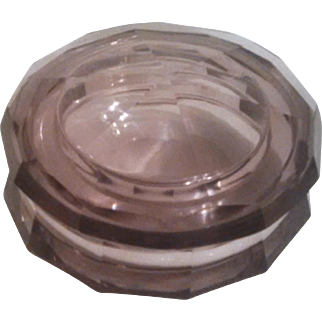 Almost Mint Bohemian Moser Art Glass  / Josef Hoffmann Design - Superb Faceted LAVENDER Crystal Box with Lid - Diamond Cut
