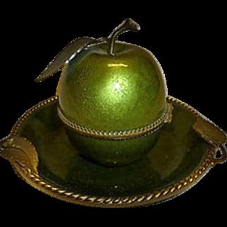 Evans Elegance Mid-century Green Guilloche Enamel Lighter + Tray Set
