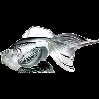 "Vintage French Art Glass - The Sabino Goldfish Car Mascot ""Sailing Fish"" / ""Queue de voile"" - MINT Hood Ornament / Paperweight / Radiator Cap"