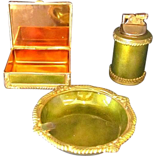 Vintage Mid-Century Olive Green 3-pc Tobacco Set by Royal Bovano