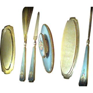 Sterling Silver Guilloche Enamel 6-pc Vanity Set - Vintage Thomae Manicure Tools for your Dressing Table / Boudoir -D3