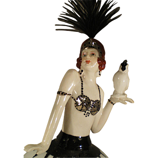 1930's Figural Bedside Table Lamp - Art Deco Flapper Dancer with Parrot  - Almost MINT
