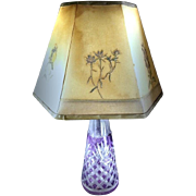 Antique Amethyst Intaglio Cut to Clear Crystal Lamp with Shade - 1800's - French / Bohemian Art Glass