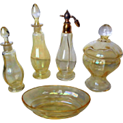 Antique Iridescent Yellow Crystal - Complete 9-pc Vanity Set