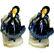 """Pair of J.B. Hirsch / John Ruhl 1925 Crinolined Maidens Bookends - """"Pleased to Meet You"""""""