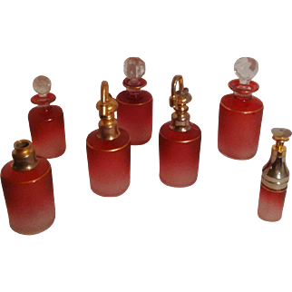 Antique French Saint Louis Art Glass - Cranberry Cut to Clear Cameo Vanity Perfume Bottle Set - Rare