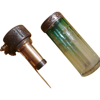 Moser Art Glass - Antique Faceted Green Cut to Clear Faceted Perfume Atomizer with Gilded Cameo decorations