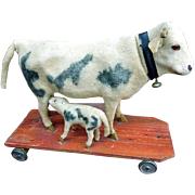 20th C. Pull Cow Toy with Calf