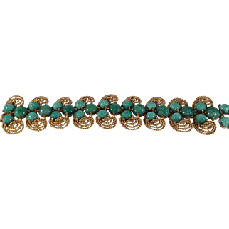 Gold Toned and Simulated Jade Bracelet