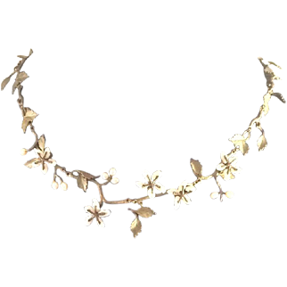 Vintage Bronze Leaves and Cultured Seed Pearls Necklace