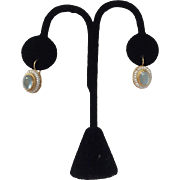 18 KT Gold Cabochon Aquamarine and Cultured Seed Pearl Earrings