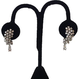 1950's 18 KT White Gold and Diamond Earrings