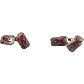 Sterling and Red Enamel Cufflinks