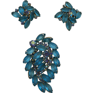 Turquoise, Rhinestone Broach and Earring Set