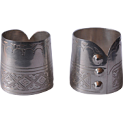 Silverware - A Pair of Antique Victorian Sterling Silver Cuff with Three Buttons Napkin Ring Holders