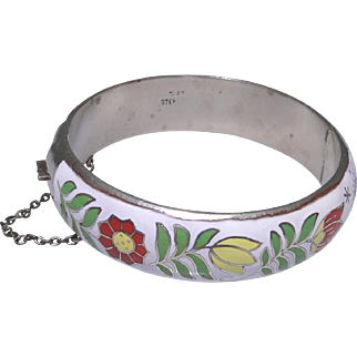 Vintage enameled sterling silver bracelet from Siam in very good condition