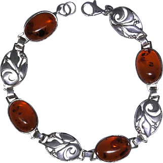 Vintage sterling silver fancy bracelet with Amber cabochons, excellent estate condition