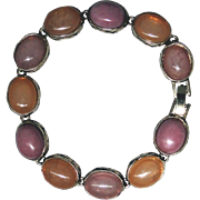 Vintage MONET signed cabochon bracelet, orange and pink cabs, excellent vintage condition