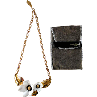Louis Feraud signed Dogwoods of Spring necklace excellent condition, with protective pouch