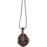 Ornate Faberge style Egg pendant with snake chain necklace, excellent condition