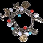 Sea or ocean theme charm bracelet, excellent condition, unique