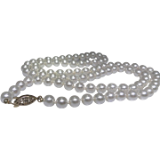 Vintage white glass pearl necklace, 30 inch strand, excellent condition