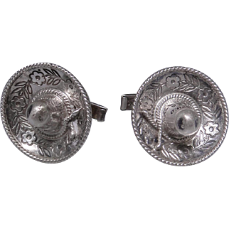 Vintage sterling silver cufflinks from Mexico stamped Eagle 26 excellent estate condition