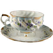 Unusual vintage Lefton Heirloom Violet cup and saucer set, excellent condition