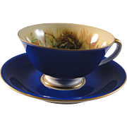 Occupied Japan Hinode China Cup and Saucer set, cobalt blue with fruit design, excellent condition