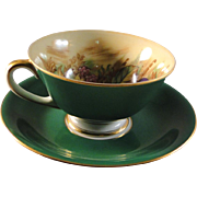 Hinode China cup and saucer set, Occupied Japan, rich green with fruit painted in cup, excellent condition