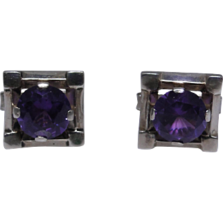 Vintage sterling silver cufflinks from Mexico with synthetic Alexandrites
