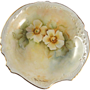 Bavarian porcelain style vintage dish, hand painted, signed by Dee McKeever, excellent condition