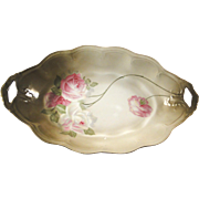 Bread platter by Z.S. & Co (Scherzer), turn of the 20th century, rose Mignon series very fine condition
