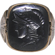 Man's ring set with a hematite intaglio of a warrior, size 9.50, very good condition, 10kt gold