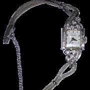 Vintage Hamilton watch, 14kt white gold case, diamonds, running condition