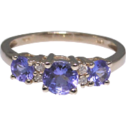 Vintage Tanzanite and diamond ring, 14kt gold, size 7
