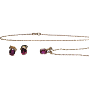 Vintage 14kt gold earring and necklace with pendant set, Rubies with a diamond