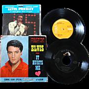 Elvis Presley mini collection, records, rare card