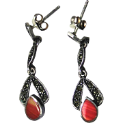 Vintage sterling silver Marcasite and banded Agate dangle earrings