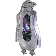 Vintage sterling silver Penguin brooch made in Oaxaca Mexico, excellent condition