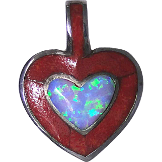 Vintage heart shaped pendant with inlay and solid sterling frame, excellent condition